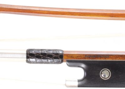 Master Level German Pernambuco Violin bow by GEORG WERNER. Silver with Abalone, Sterling tip plate. 63 grams